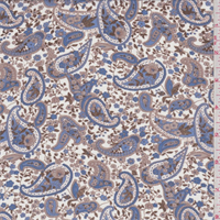 *2 1/2 YD PC--White/Blue/Cocoa Paisley Georgette