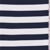 Navy/White Stripe Rayon Jersey Knit