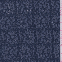 *3 3/4 YD PC--Midnight Blue Metallic Floral Lace
