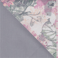 *2 YD PC--Ivory/Green/Grey Floral Double Faced Denim