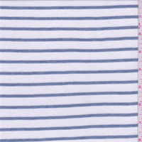 White/Slate Blue Stripe T-Shirt Knit