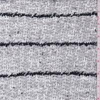 Grey/White/Black Stripe Boucle Sweater Knit