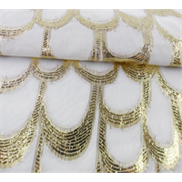 *3/4 YD PC--Gold/White Scallop Chiffon