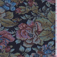 *2 YD PC--Black Multi Floral Tapestry