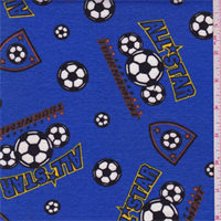 *2 YD PC--Royal Blue Soccer Print Knit Cotton