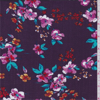 *2 YD PC--Magenta Herringbone Floral Rayon Challis