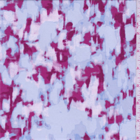 Blue/Berry/Pink Mottled Print Rayon Challis