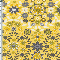 *1 3/4 YD PC--Yellow Floral Garden Print Cotton Twill Decorating Fabric