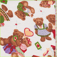 *3 YD PC--White Multi Bear Print Flannel
