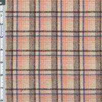 *2 3/8 YD PC--Warm Pink Madras Plaid Stretch Cotton/Linen