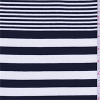 Navy/Cream Stripe Rayon Jersey Knit