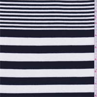 Black/Cream Stripe Rayon Jersey Knit