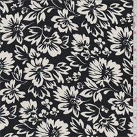 *3 YD PC--Black/Ivory Floral Rayon Challis