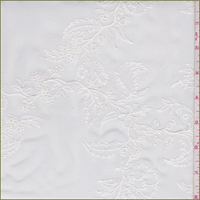 White Embroidered Floral Silk Habotai