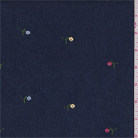 Dark Blue Embroidered Floral Eylet Denim