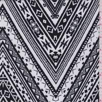 White/Black Decorative Zig Zag Jersey Knit