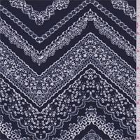 Navy/White Lace Zig Zag Print Jersey Knit