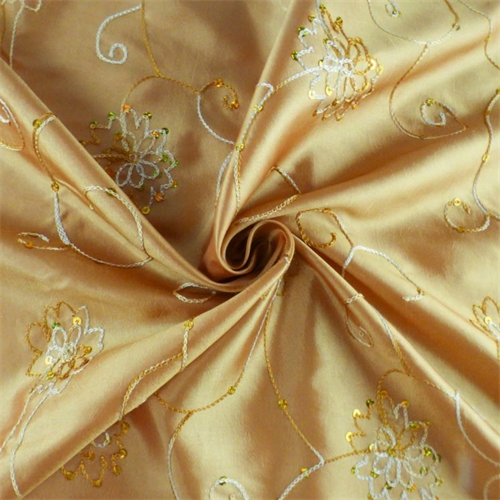 Golden beige floral embroidered sequin tissue taffeta for Wedding dress dry cleaning denver