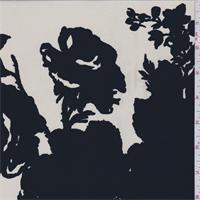 Ivory/Black Floral Silk Crepe de Chine