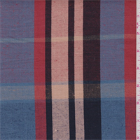Cornflower/Peach/Rust Plaid Linen