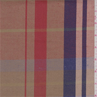 Gold/Red/Violet Plaid Linen