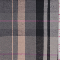 Grey/Peach/Pink Plaid Linen