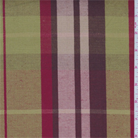 Lime/Brown/Red Plaid Linen