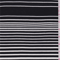 *3 3/4 YD PC--Black/White Stripe Rayon Jersey Knit