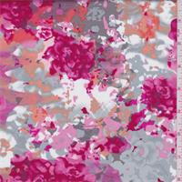 *2 YD PC--Raspberry/Grey Multi Floral Stretch Sateen
