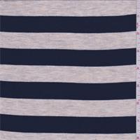 Navy/Beige Stripe Rayon Jersey Knit