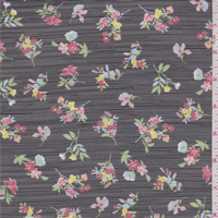 Black Floral Polyester Crinkled Chiffon
