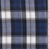 Blue/White/Black Plaid Shirting