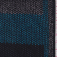 Teal/Navy/Grey Stripe Wool Coating
