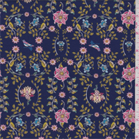*3 3/4 YD PC--Indigo Blue Stylized Floral Knit