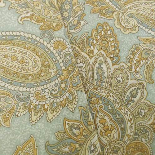 *1 YD PC--Designer Cotton Teal/Beige Paisley Print Home