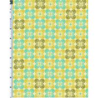 *3 1/4 YD PC--Citron/Aqua Joel Dewberry Notting Hill Square Petal Print Cotton Voile