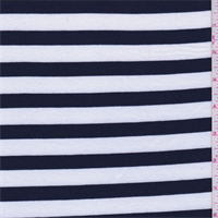 *1 3/4 YD PC--White/Navy Stripe Jersey Knit