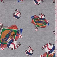 *2 YD PC--Grey Baseball Print Knit Cotton
