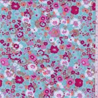 Aqua/Magenta/Pink Mini Floral Jersey Knit