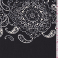 Black/Grey/Ivory Medallion Crepe de Chine