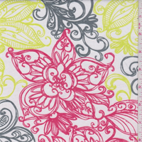 White/Red/Lime Sketch Print Jersey Knit