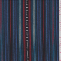 *3 YD PC--Blue Multi Stripe Cotton Ikat