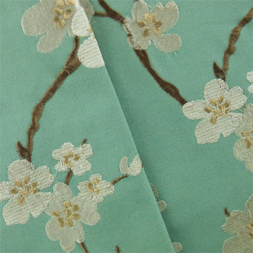 Teal White Embroidery Cherry Blossom Canvas Home