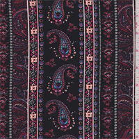 Black Multi Paisley Wallpaper Stripe Georgette
