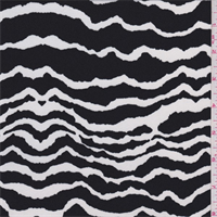 Black/White Wave Stripe Georgette