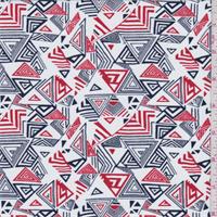 White/Navy/Orange Triangle Print Swimwear