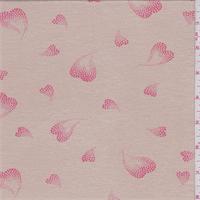 Sandy Beige Heart Print Rayon Jersey Knit