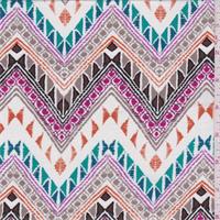 White Multi Zig Zag Print Rayon Jersey Knit