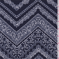 *3 YD PC--Navy/White Lace Zig Zag Print Jersey Knit