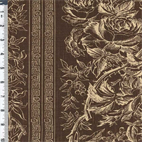 *2 YD PC--Brown Floral Wallpaper Stripe Linen Decorating Fabric